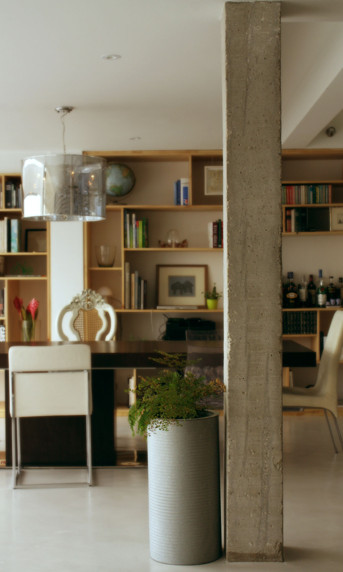 Eclectic Apartment Bare Concrete Concrete Floors Wooden Panels  # Muebles Hindu En Bogota