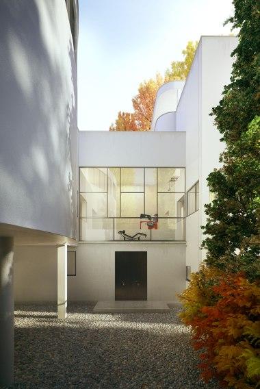 Entrance to La Roche House. Fall.